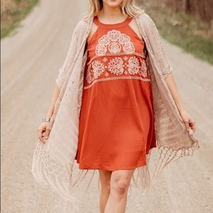 Arlo Embroidered Rust Dress